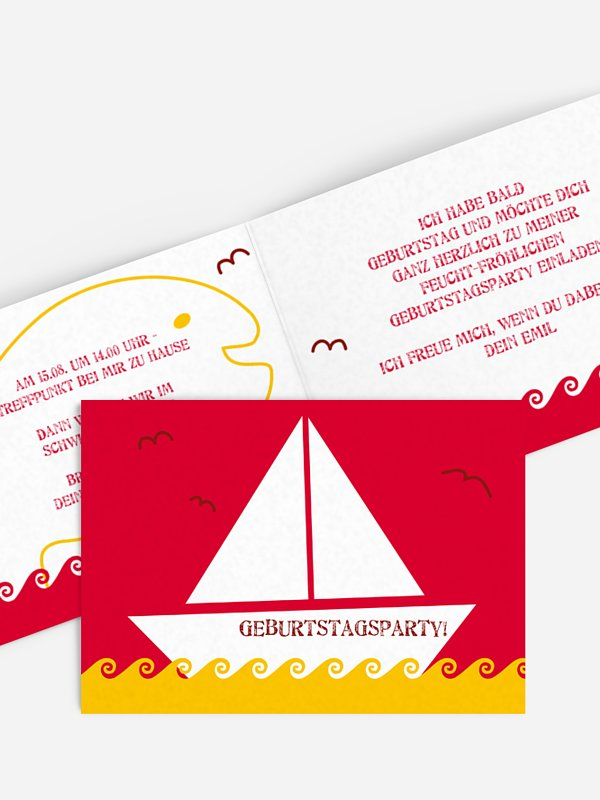 Kindergeburtstagseinladung Segelboot