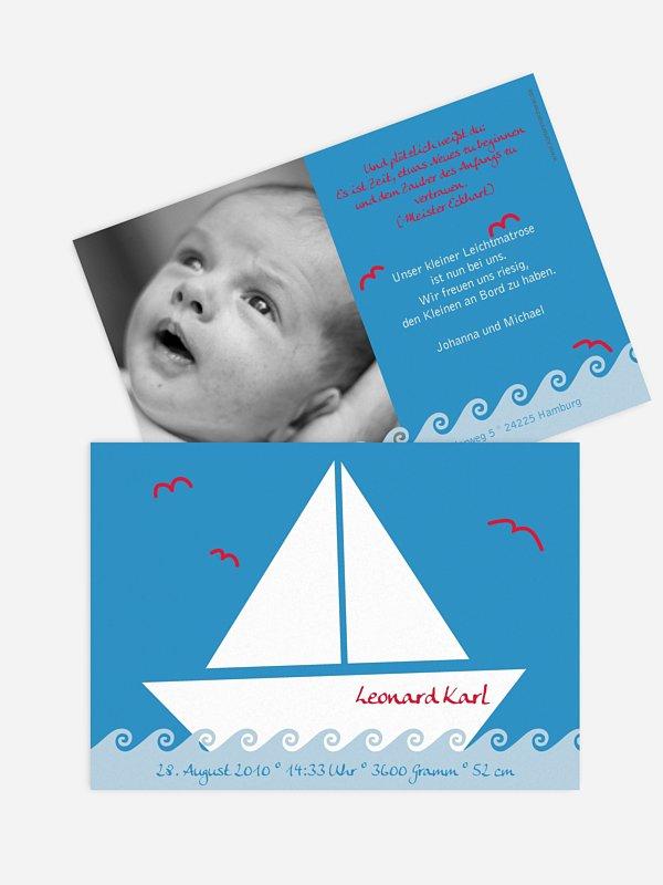 Geburtskarte Segelboot