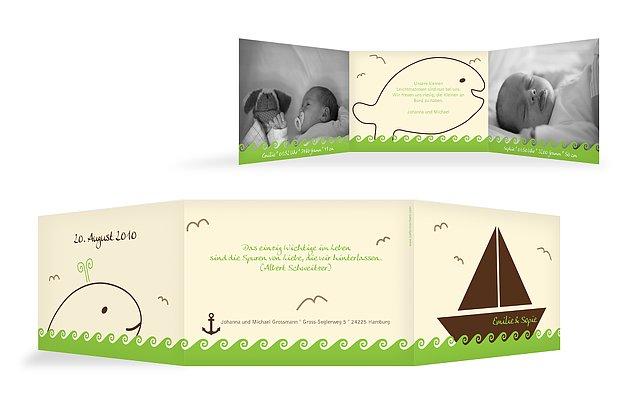 Zwillingskarte Segelboot