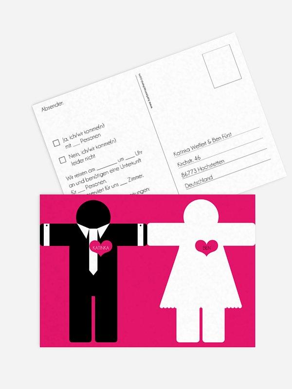 Antwortkarte Hochzeit Mann & Frau