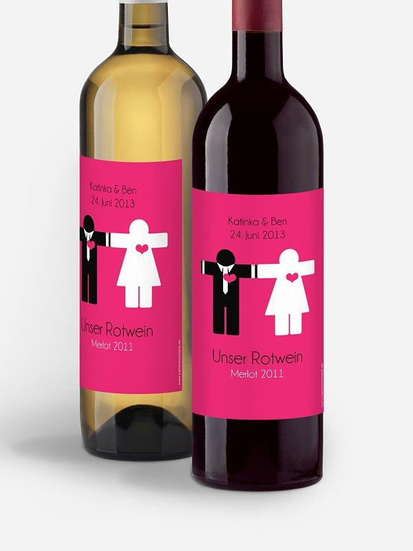 Flaschenetikett Hochzeit Mann & Frau