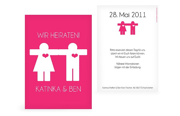 "Save-the-Date Karte ""Mann & Frau"""