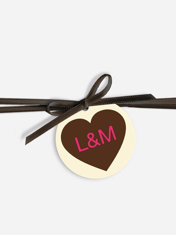 Étiquette avec ruban De bon coeur