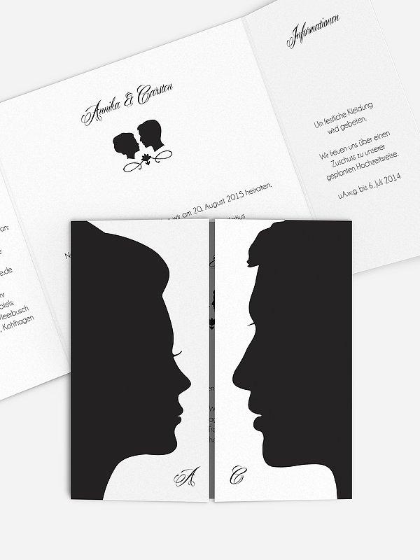 Hochzeitseinladung Scherenschnitt