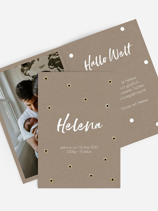 Geburtskarte Polka Dots Premium