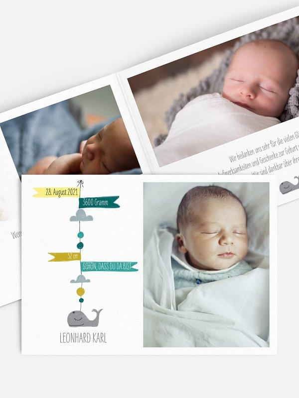 Geburtskarte Mini Moby