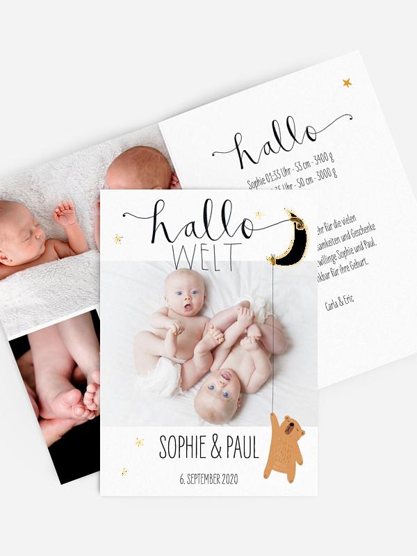 Zwillingskarte Lovely Lullaby