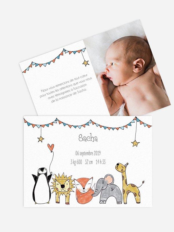 Faire-part naissance Animaux illustrés