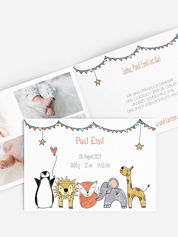 Geburtskarte Freche Tierparade