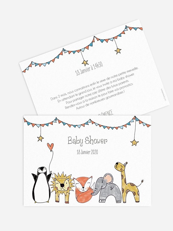 Invitation baby shower Animaux illustrés