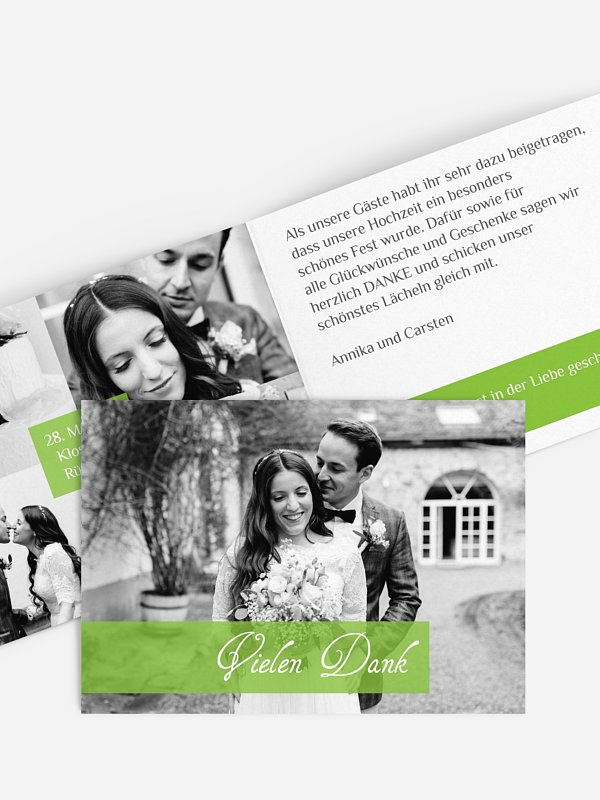 Dankeskarte Hochzeit Bildreich