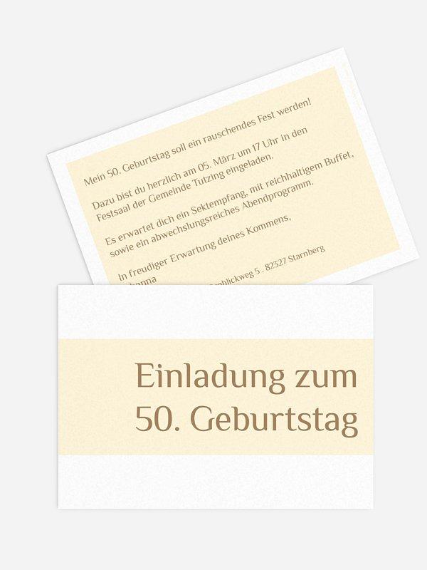 Einladung 50. Geburtstag Farbklar