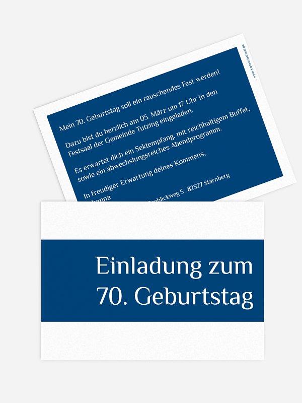 Einladung 70. Geburtstag Farbklar