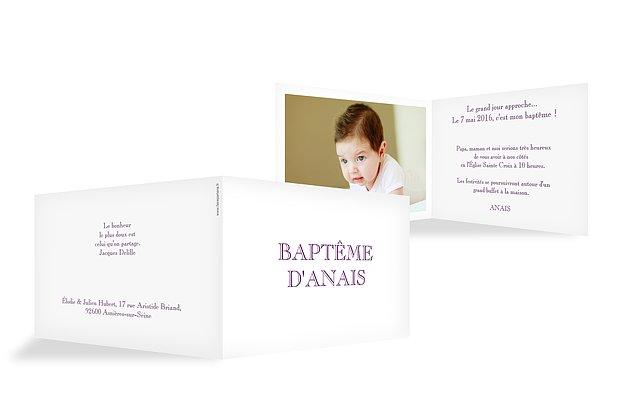 Faire-part baptême En toutes lettres