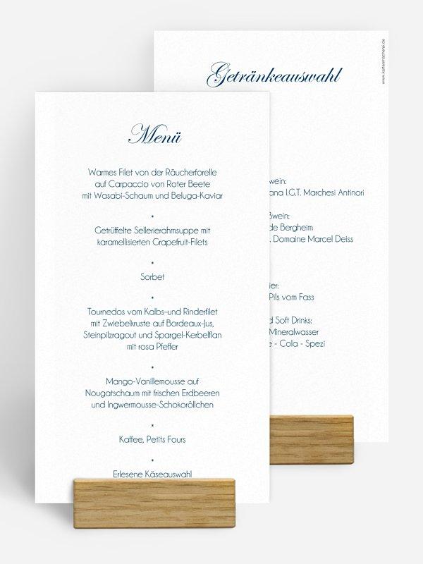 Menükarte Hochzeit Schriftlich