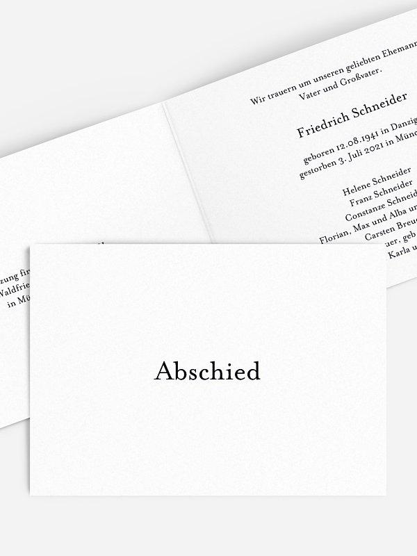 Trauerkarte Schriftlich