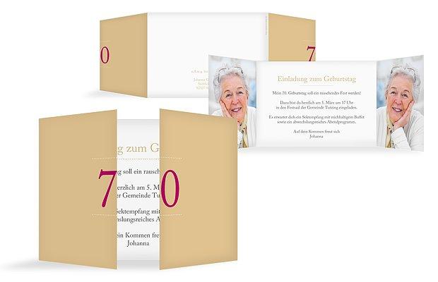 einladung zum 70. geburtstag: einladungskarten gestalten, Einladungs