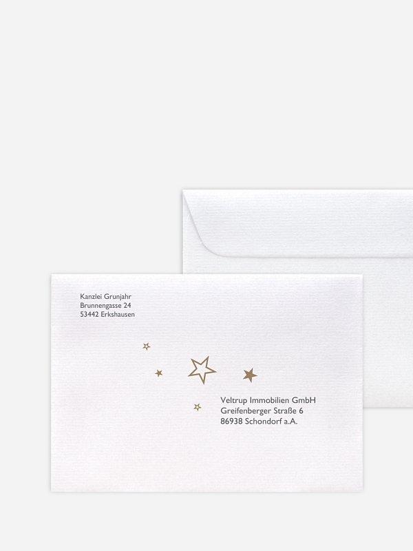 Bedruckte Umschläge geschäftl. Weihnachten Sternenglanz