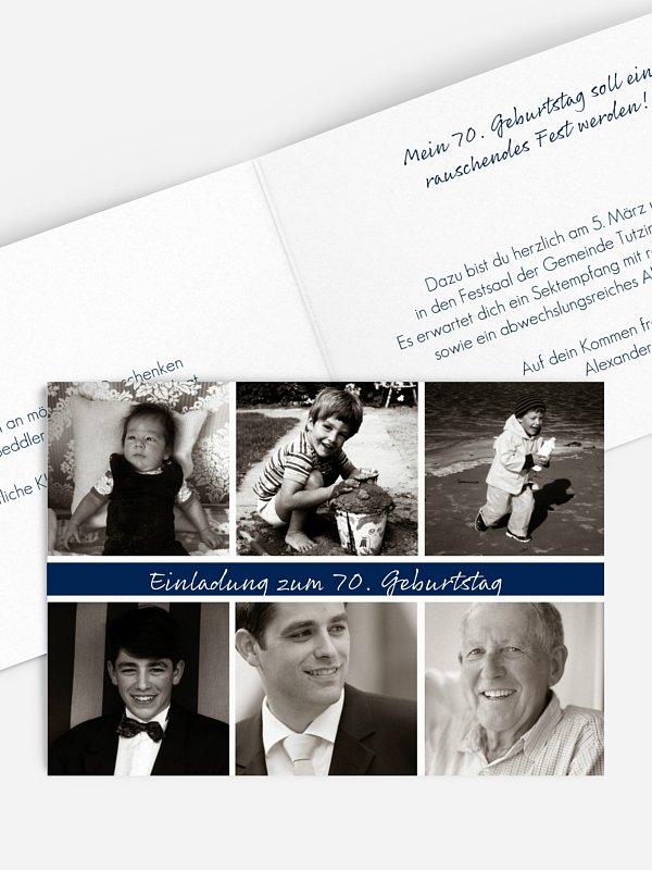 Einladung 70. Geburtstag Fotoreich