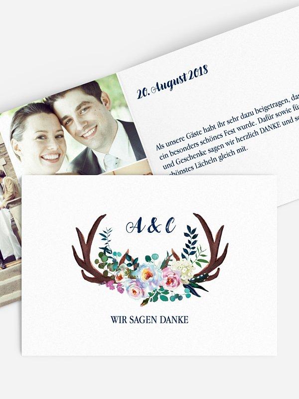 Dankeskarte Hochzeit Bavarian Boho
