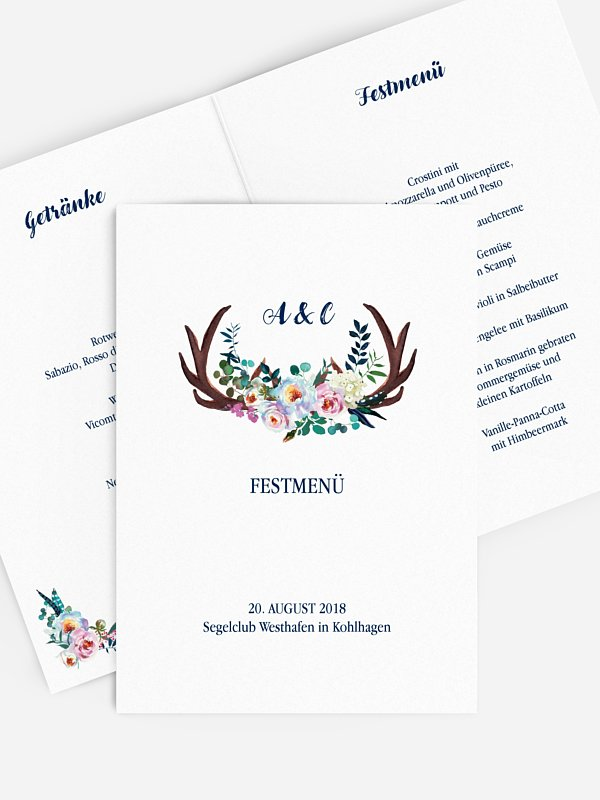 Menükarte Hochzeit Bavarian Boho