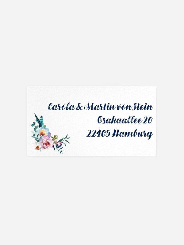 Empfängeraufkleber Hochzeit Bavarian Boho