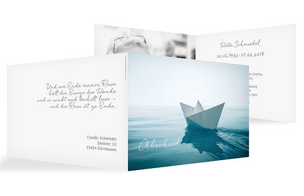 Trauerkarte Papierschiff