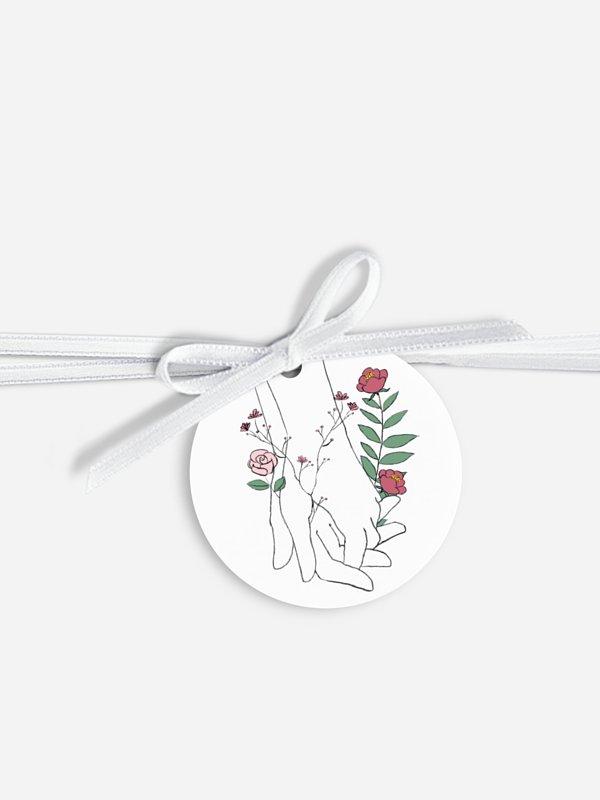 Étiquette avec ruban Amour illustré
