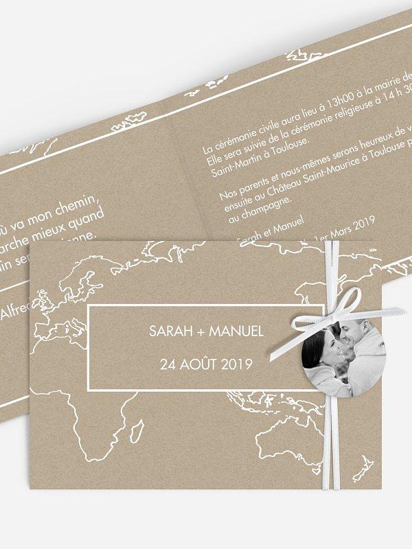 Faire-part mariage Carte du monde