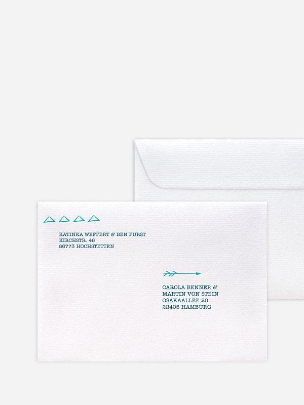 Bedruckter Briefumschlag Hochzeit Boho