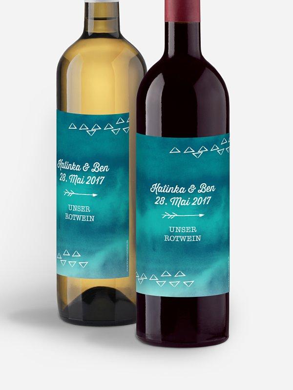 Flaschenetikett Hochzeit Boho