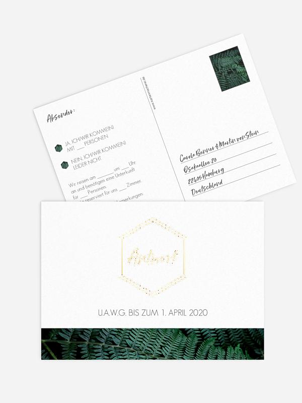 Antwortkarte Hochzeit Styled Fern Premium