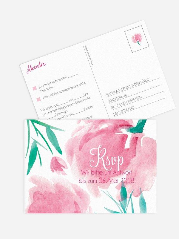 Antwortkarte Hochzeit Aquarellblumen