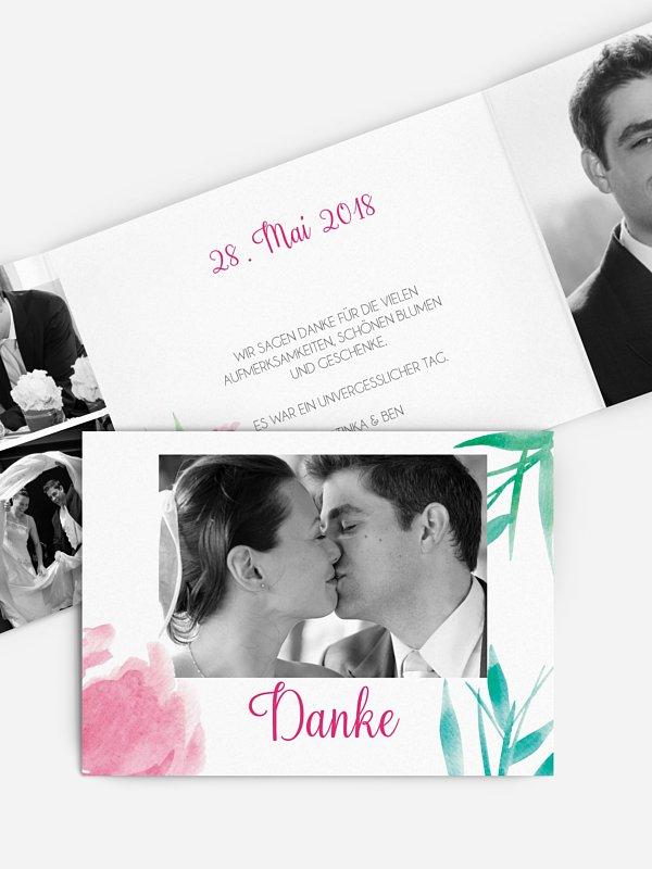 Dankeskarte Hochzeit Aquarellblumen