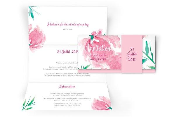 Faire-part mariage Fleurs en aquarelle