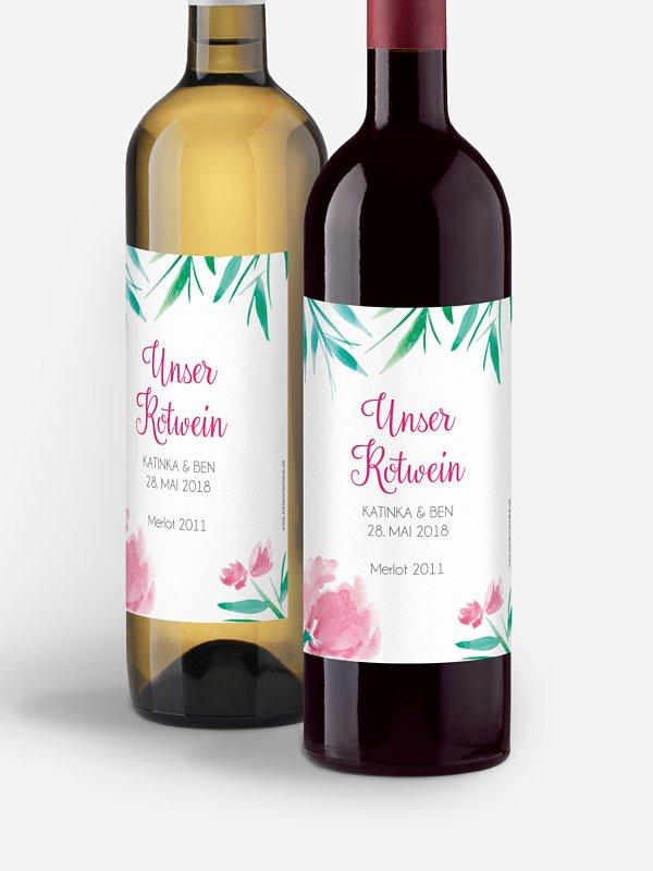 Flaschenetikett Hochzeit Aquarellblumen