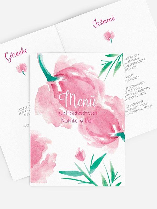 Menükarte Hochzeit Aquarellblumen