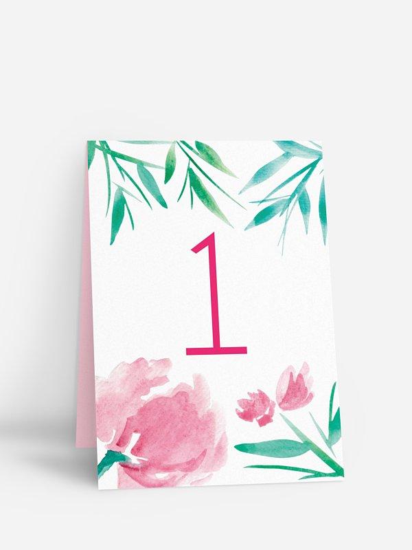 Tischnummer Aquarellblumen