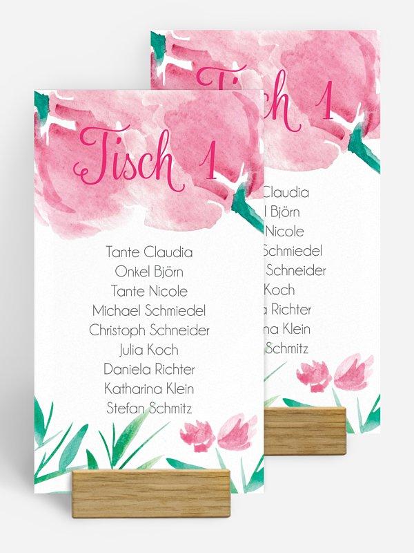 Gruppentischkarte Aquarellblumen