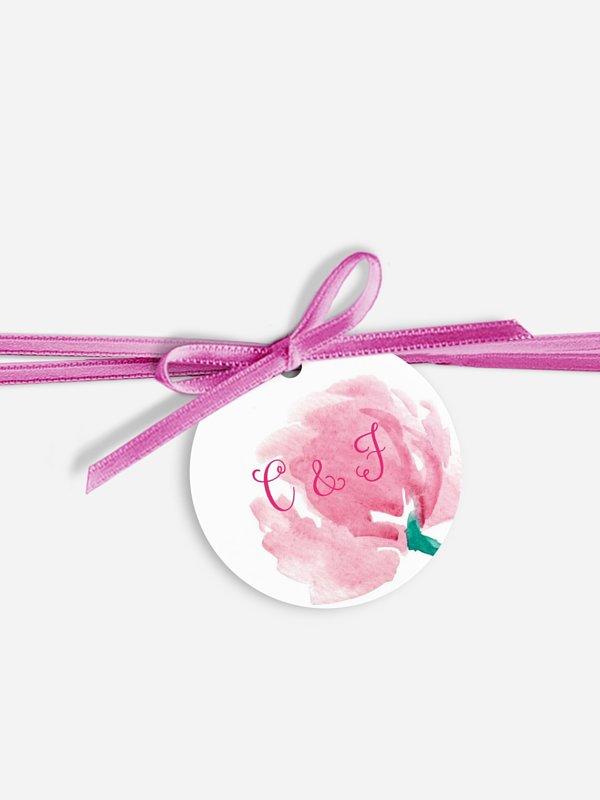 Étiquette avec ruban Fleurs en aquarelle