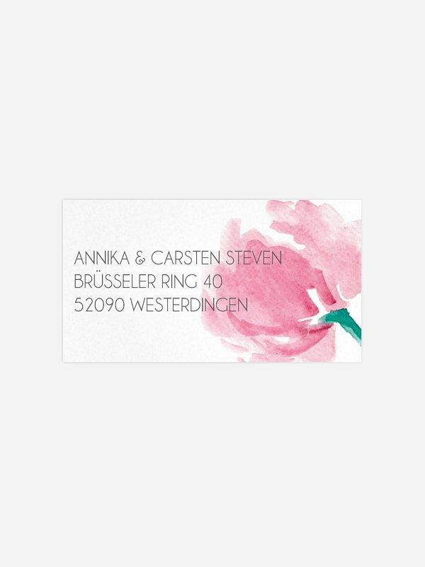 Empfängeraufkleber Hochzeit Aquarellblumen