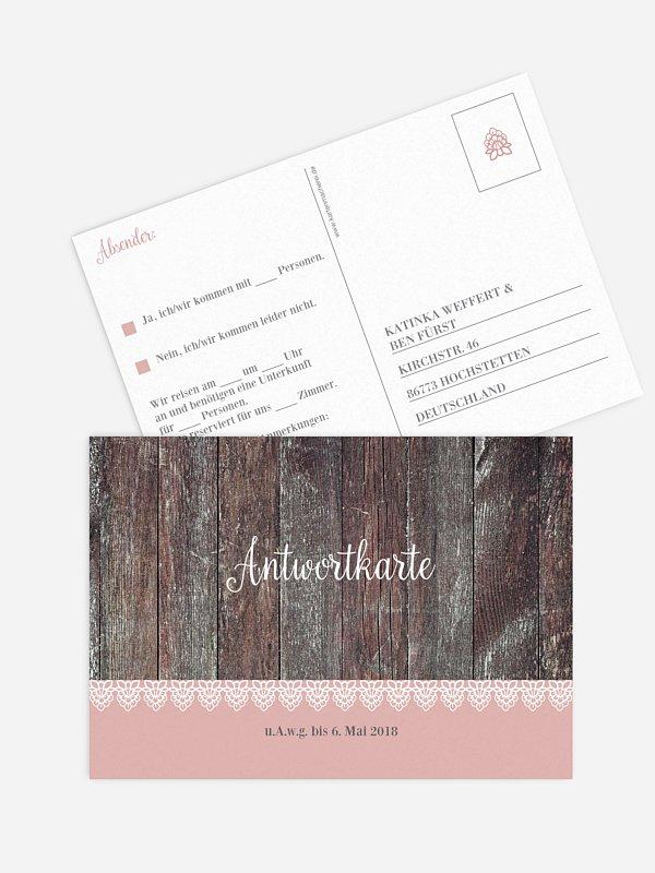 Antwortkarte Hochzeit Wood & Lace