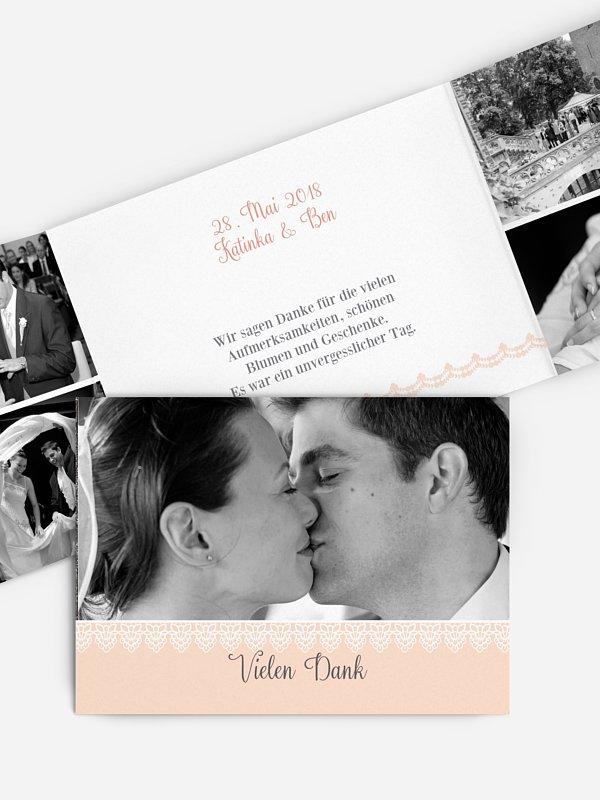 Dankeskarte Hochzeit Wood & Lace