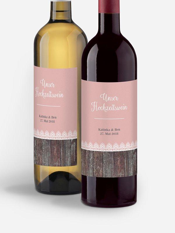 Flaschenetikett Hochzeit Wood & Lace