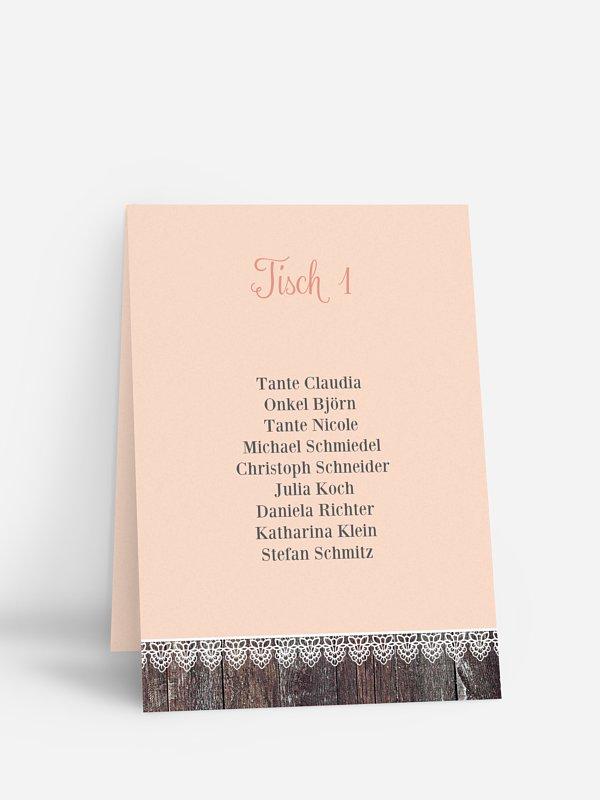Gruppentischkarte Wood & Lace
