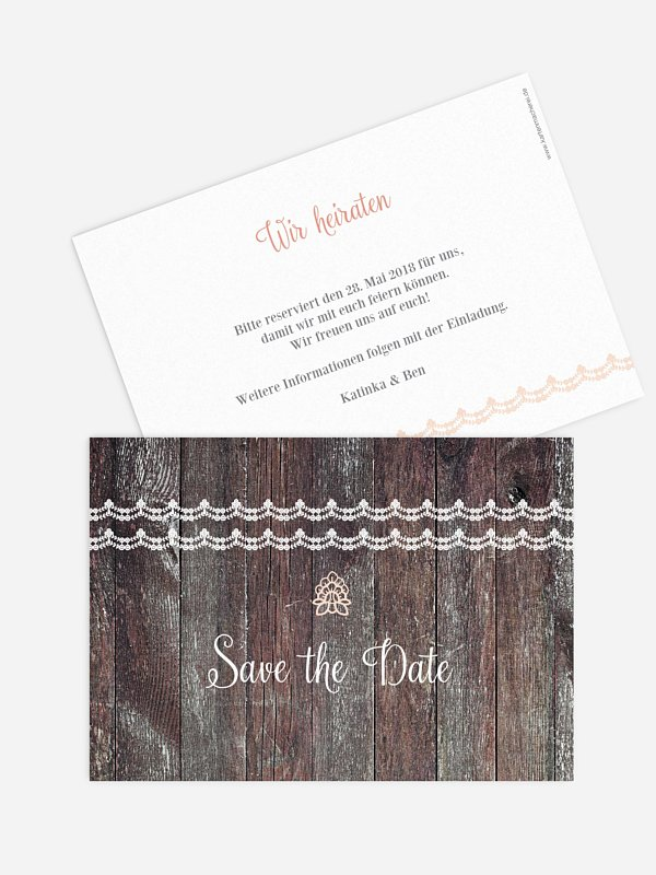 Save-the-Date Karte Wood & Lace
