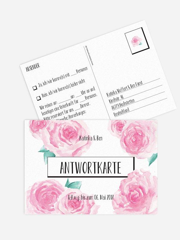 Antwortkarte Hochzeit Pink Peony