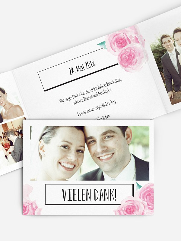 Dankeskarte Hochzeit Pink Peony