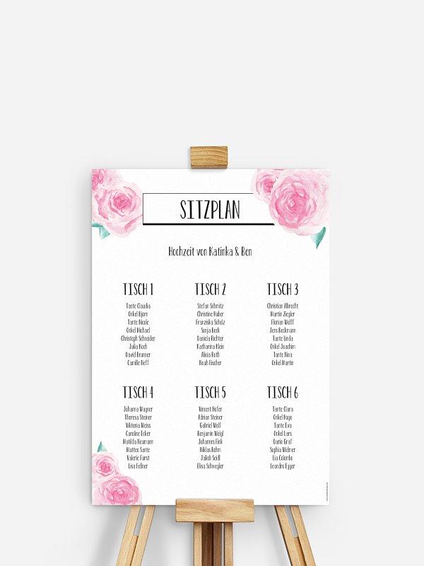 Sitzplan Plakat Pink Peony