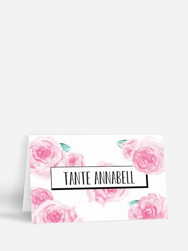 Tischkarte Hochzeit Pink Peony